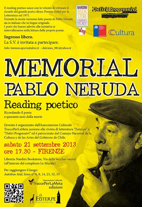 """Sabato 21.9.2013 – Reading poetico """"Memorial Pablo Neruda"""""""