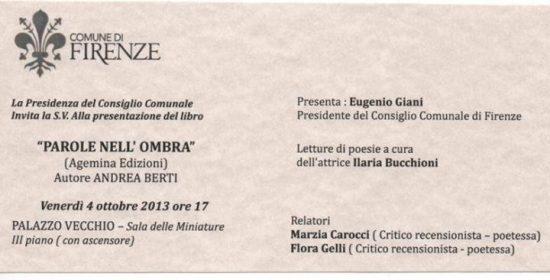 """4 ottobre 2013 – Presentazione libro: """"Parole nell'ombra"""" di Andrea Berti"""