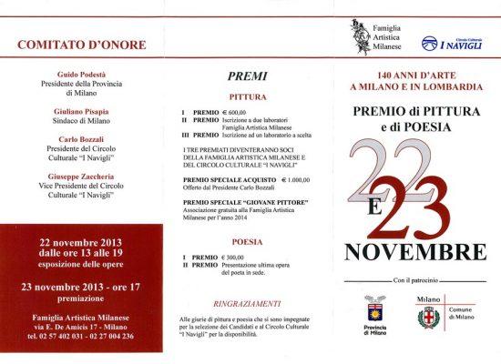 23.11.2013 Premiazione Premio Famiglia Artistica Milanese 2013 – Pittura e Poesia
