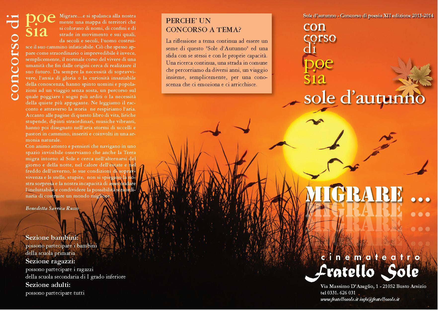 Scadenza 31.5.2014 – Sole d'autunno – Concorso di poesia XII edizione 2013-2014