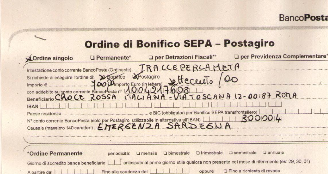 14 aprile 2014 – EMERGENZA SARDEGNA – 2° Versamento Croce Rossa Italiana
