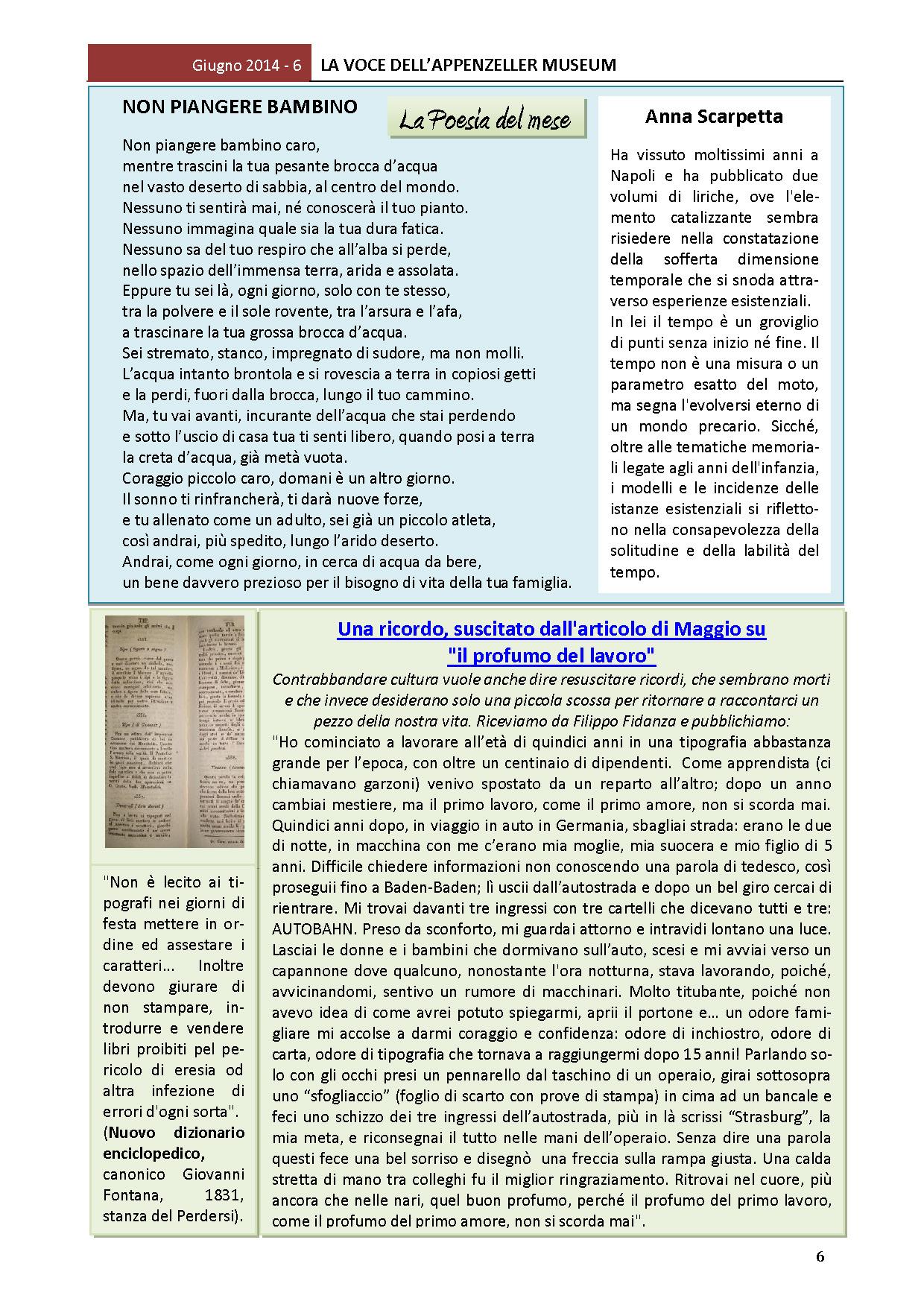 Giugno 2014, n.6, La Voce dell'Appenzeller Museum – Anna Scarpetta, Poeta del mese