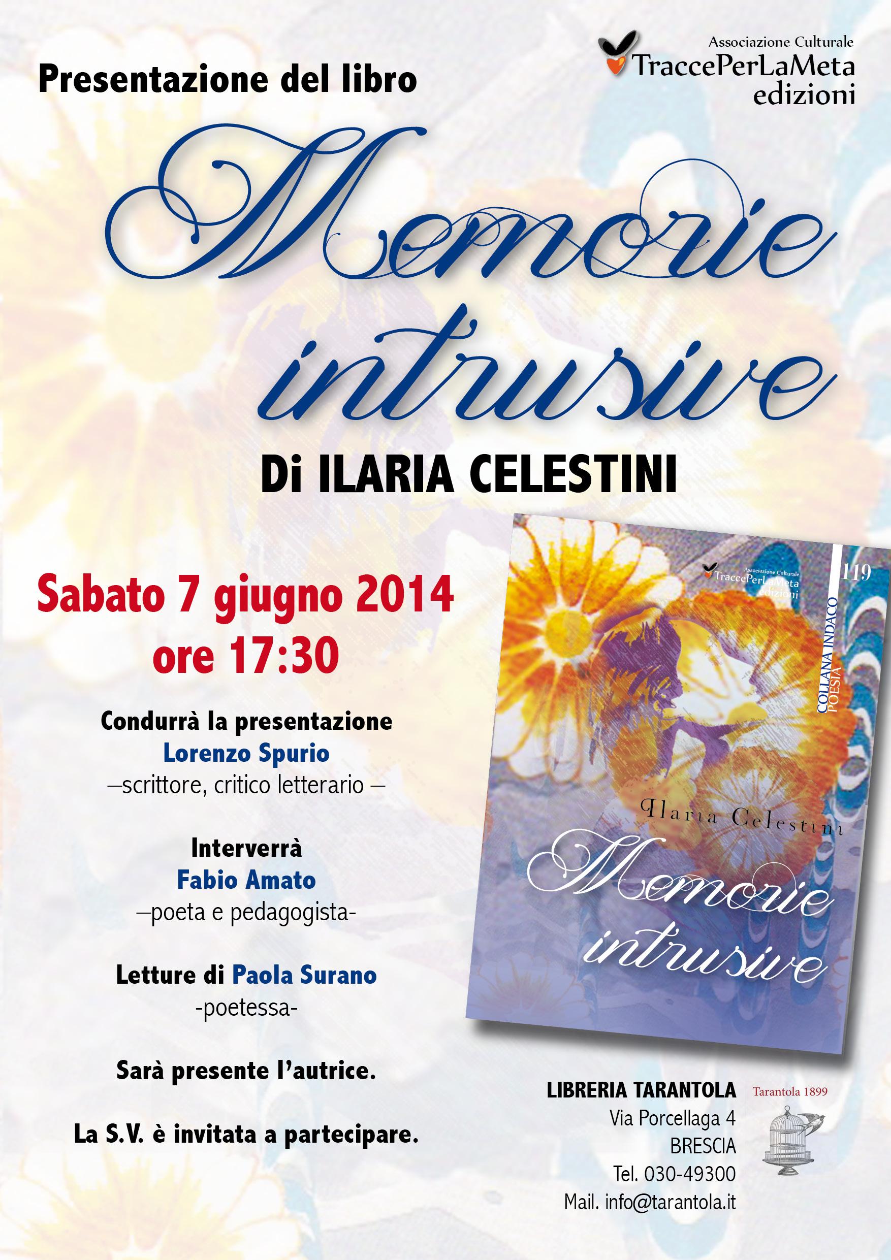 """7.6.2014 – A Brescia la presentazione di """"Memorie intrusive"""" di Ilaria Celestini"""