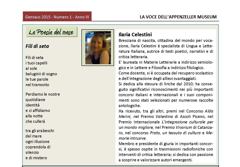 Gennaio 2015, n.1, La Voce dell'Appenzeller Museum – Ilaria Celestini, Poeta del mese