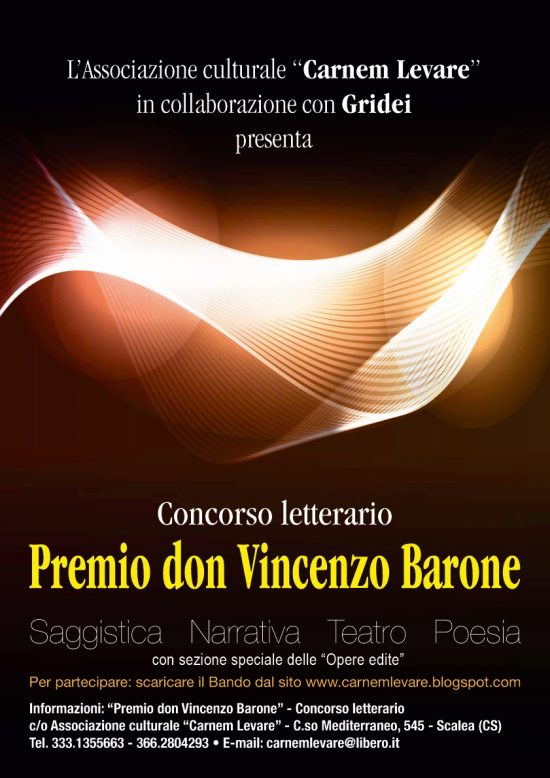 Scadenza 30 aprile 2015 – Premio Letterario Don Vincenzo Barone