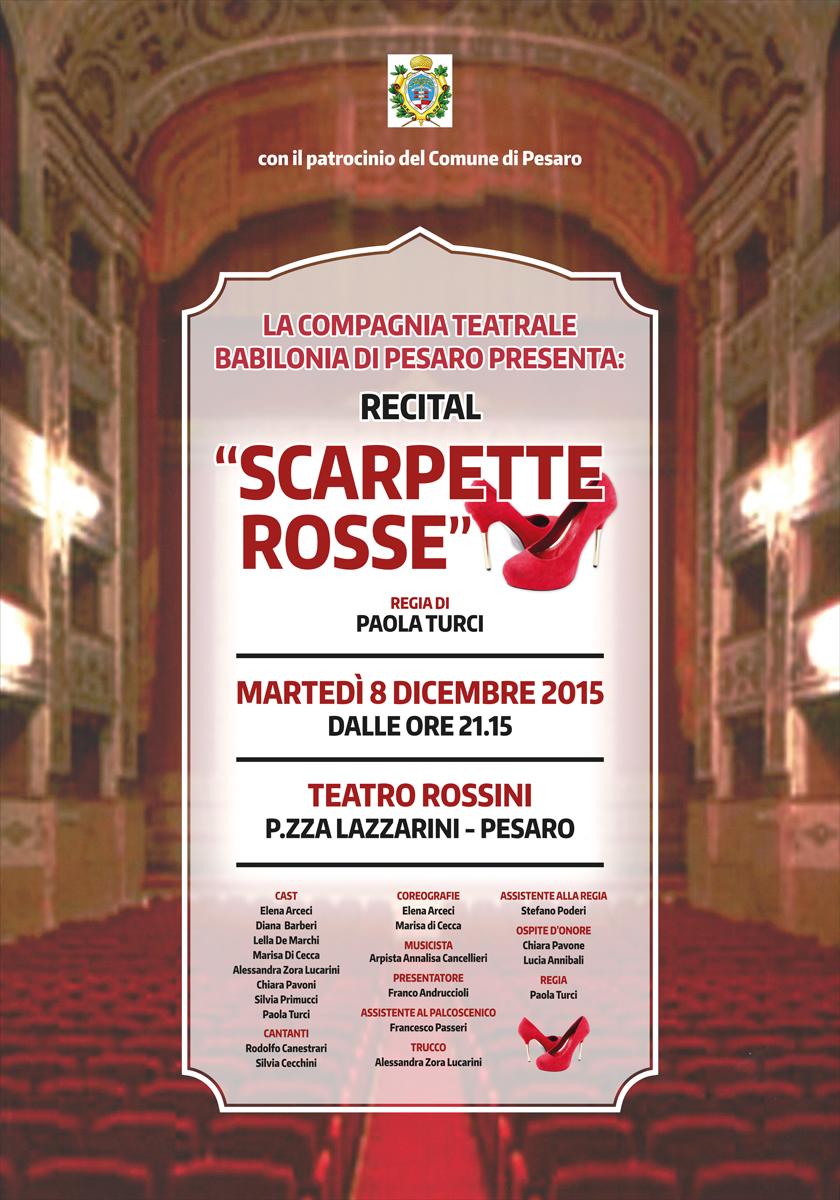 """""""Scarpette Rosse"""", 8 dicembre 2015 – ore 21:15 Teatro Rossini, Pesaro, nel segno della lotta contro la violenza sulle donne"""