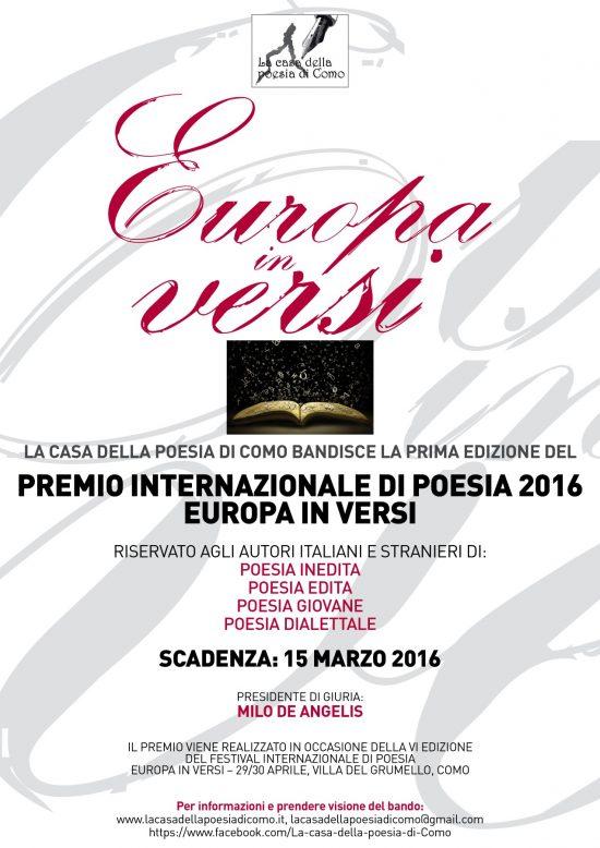 Scadenza 15.3.2016 – Bando del Premio Internazionale di Poesia Europa in Versi 2016