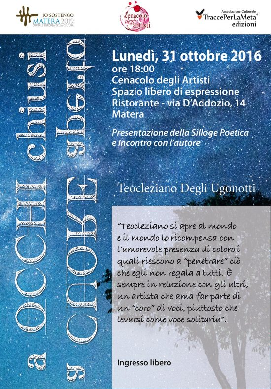 """31.10.2016 Presentazione libro """"a OCCHI chiusi, a CUORE aperto"""" di Teocleziano Degli Ugonotti"""