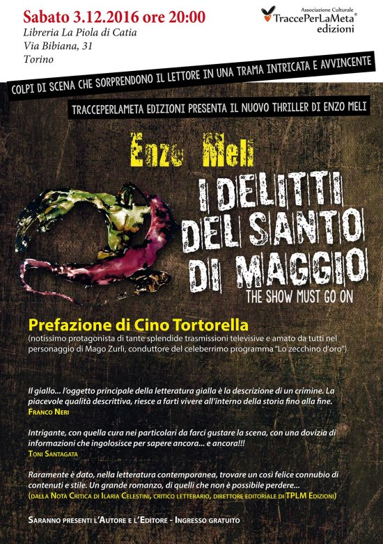 """3.12.2016 – """"I delitti del Santo di Maggio"""" presentazione del poliziesco di Enzo Meli"""
