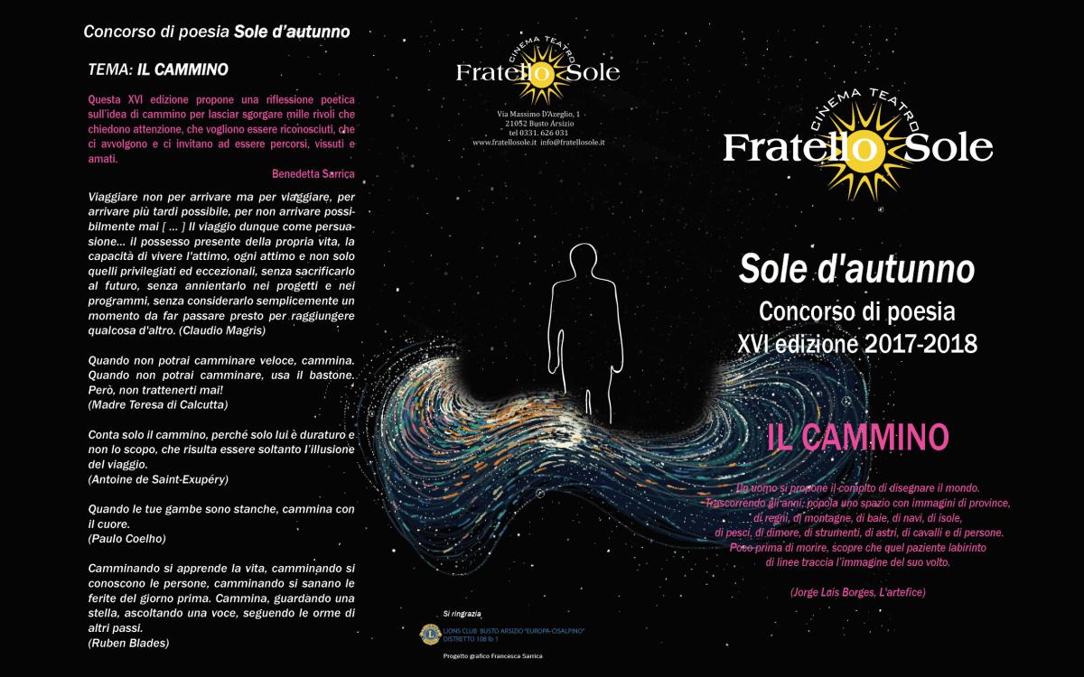 """29.9.2018 Premiazione XVI Concorso di poesia """"Sole d'Autunno"""", Teatro Fratello Sole"""