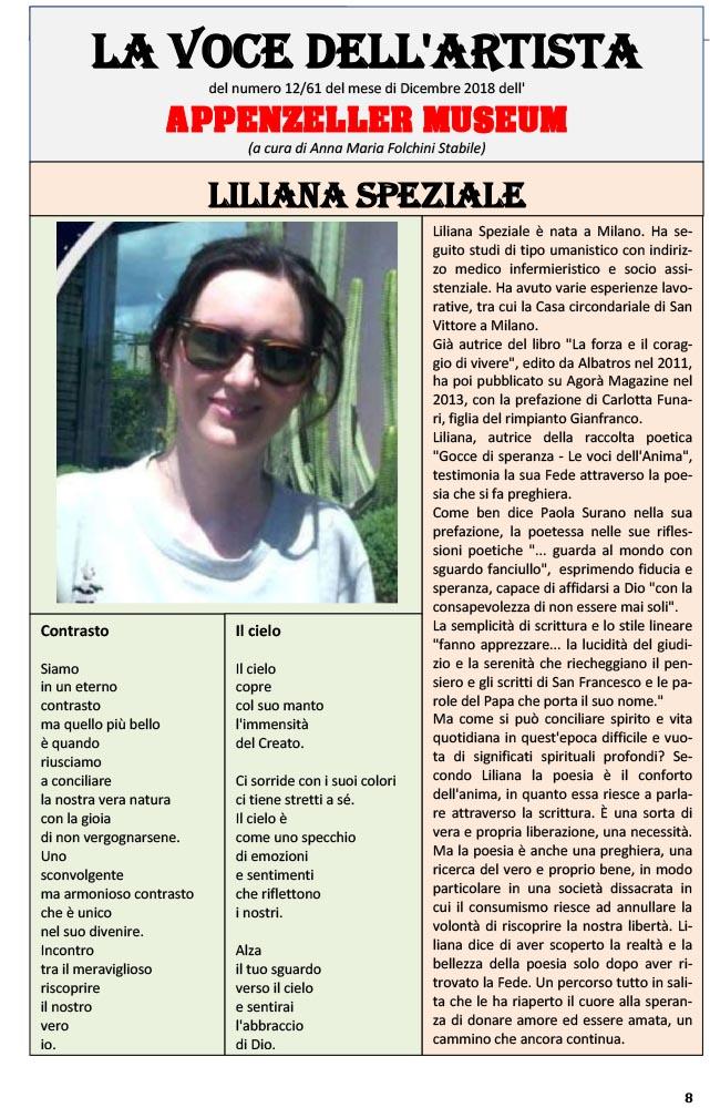 Liliana Speziale, La Voce dell'Artista – Dicembre 2018, n.12, La Voce dell'Appenzeller Museum