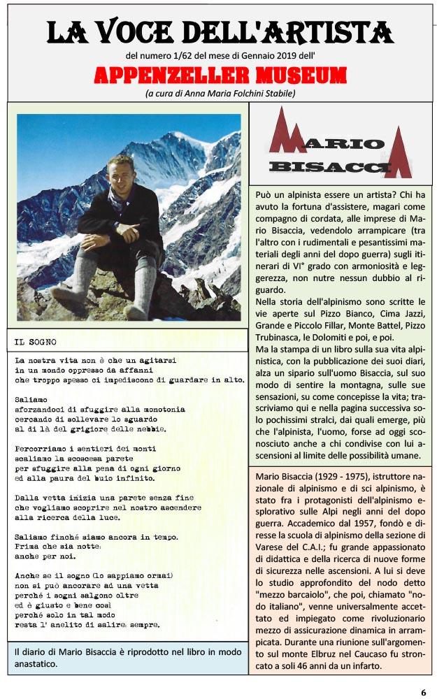 Mario Bisaccia, La Voce dell'Artista – Gennaio 2019, n.1, La Voce dell'Appenzeller Museum