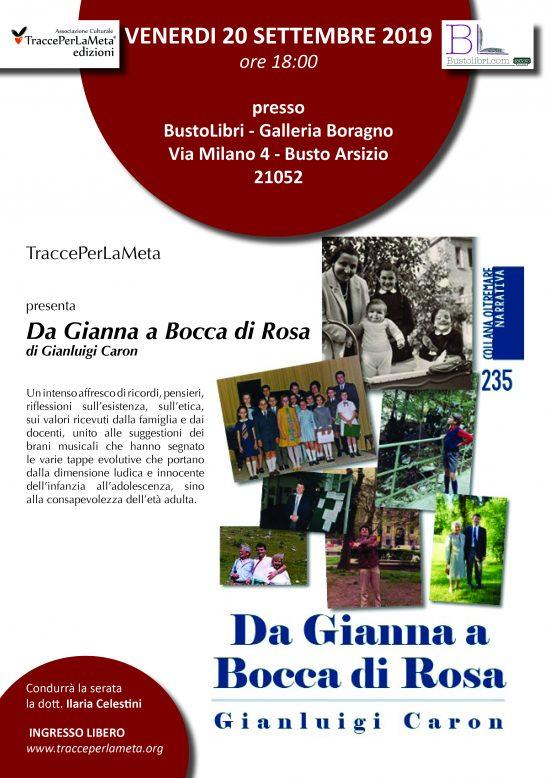 """20.9.2019 – Presentazione del libro """"DA GIANNA A BOCCA DI ROSA"""" di GianLuigi Caron"""