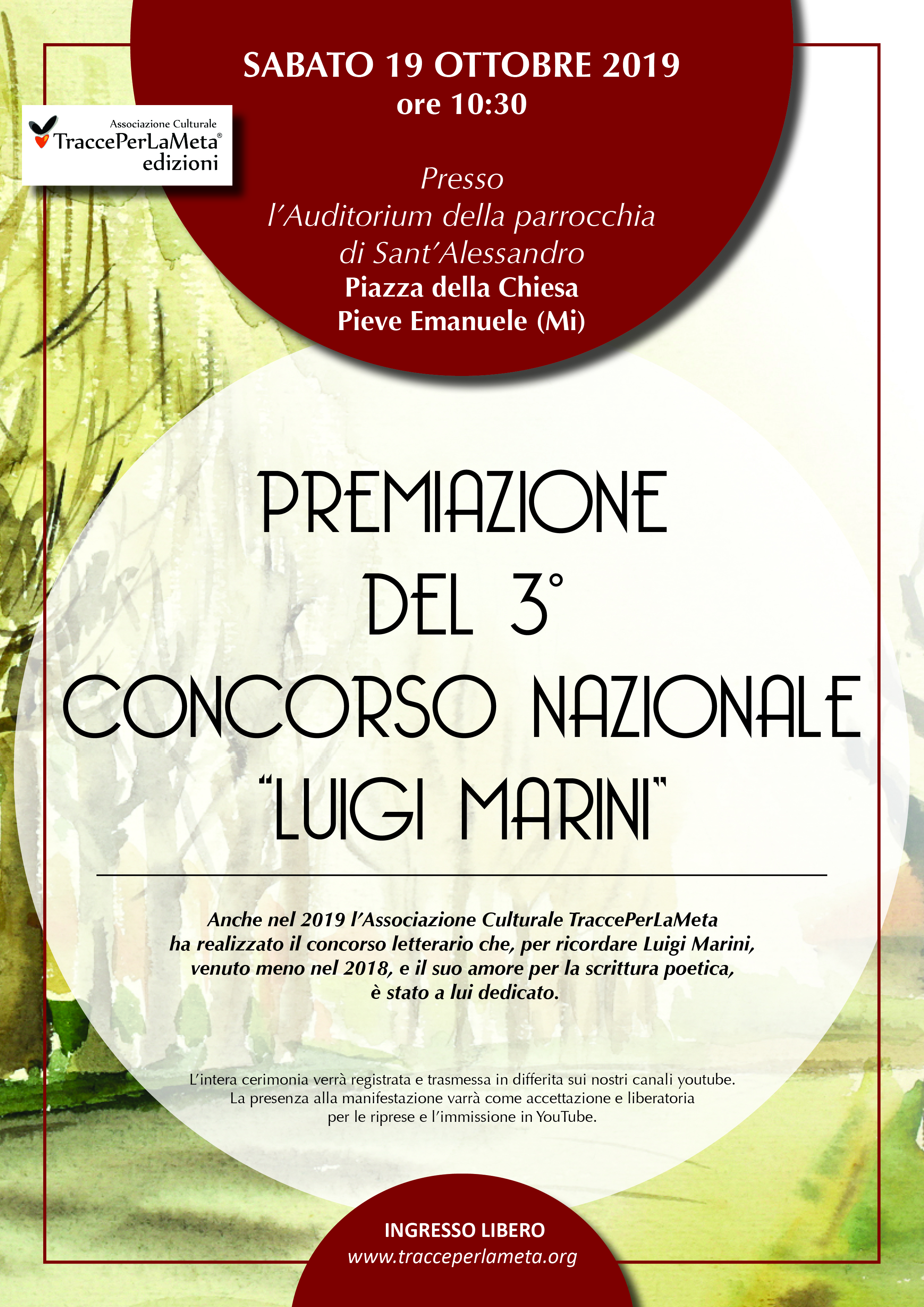 """19.10.2019 – PREMIAZIONE  DEL 3°  CONCORSO NAZIONALE  """"LUIGI MARINI"""""""