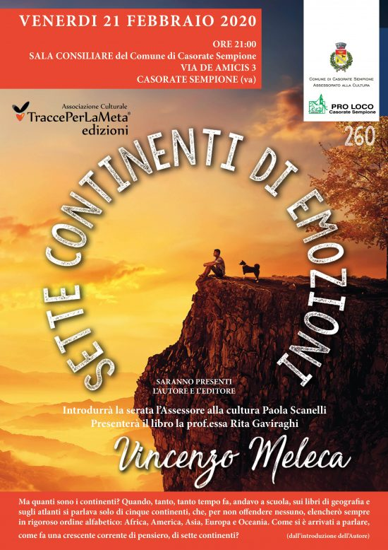 "21.02.2020 – TraccePerLaMeta presenta ""I SETTE CONTINENTI "" di Vincenzo Meleca"