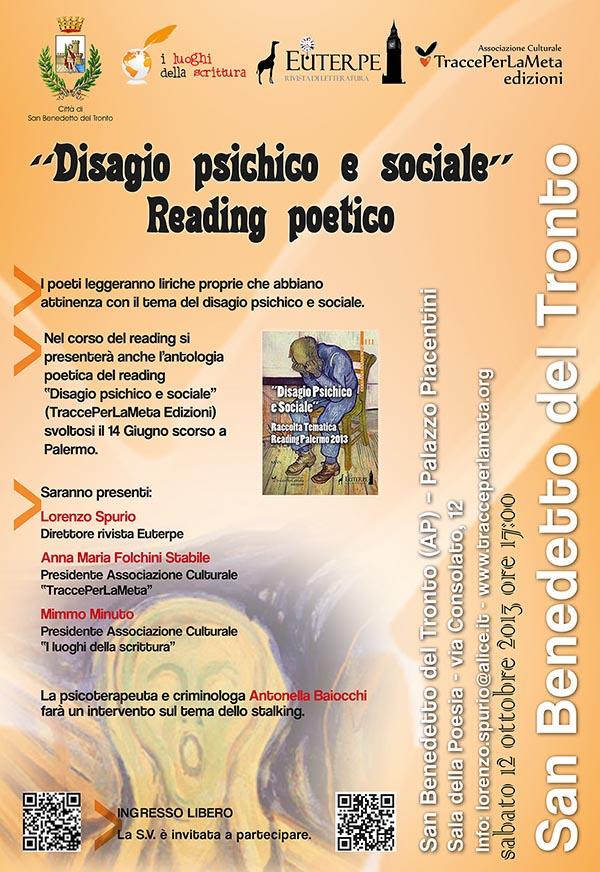 """12 ottobre 2013 – Reading poetico """"Disagio psichico e sociale"""""""