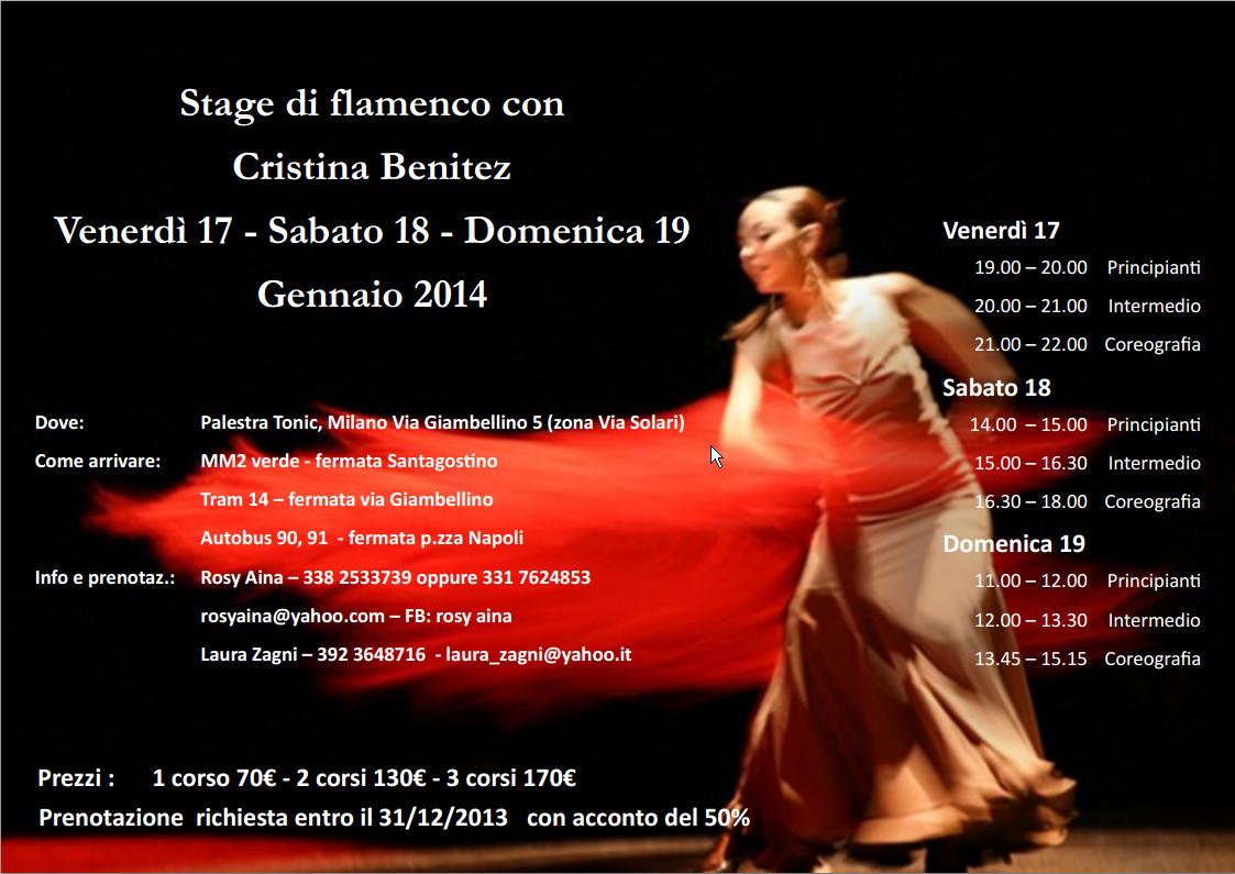 17-18-19.1.2014 – Stage di flamenco con Cristina Benitez