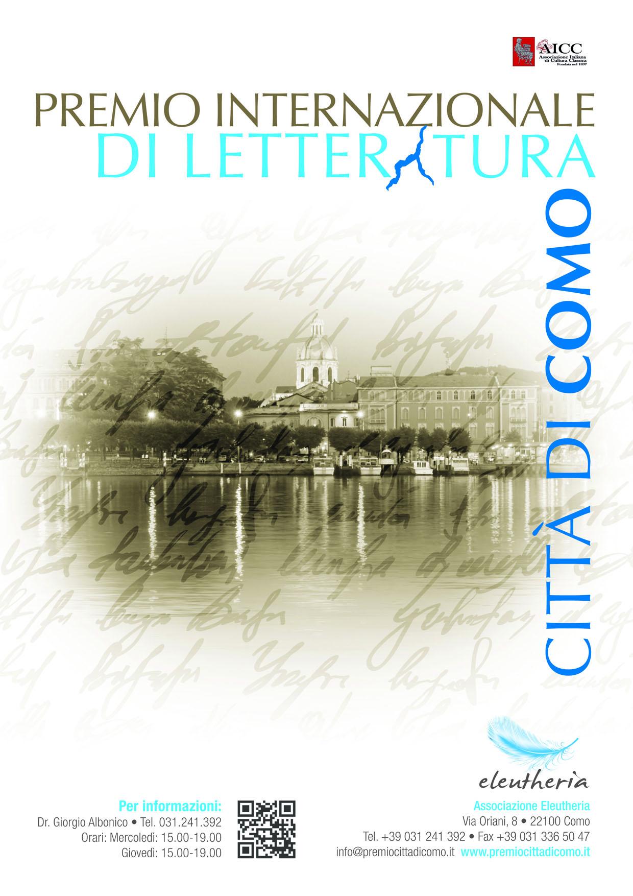 """Scadenza 25.4.2014 – 1° Premio internazionale di letteratura """"Città di Como"""""""