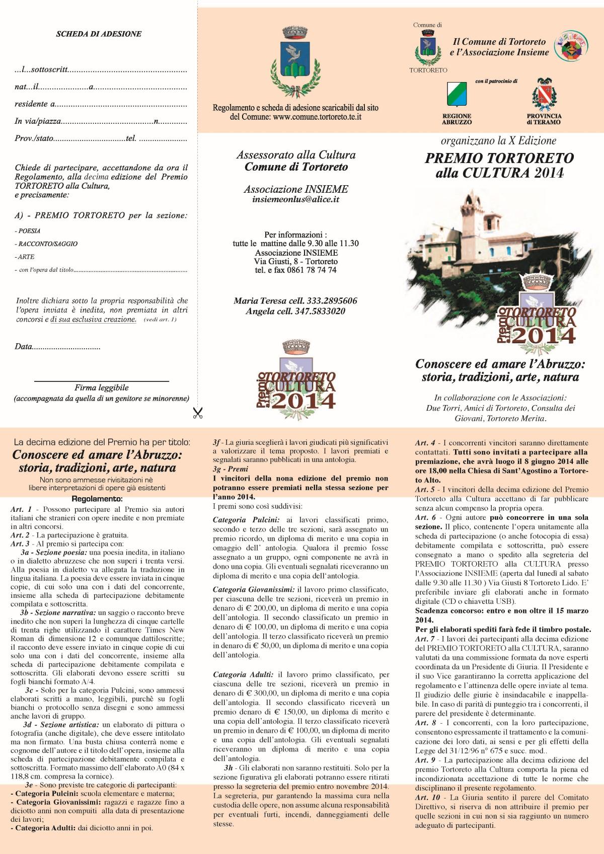 """15.3.2014 – Premio Tortoreto alla Cultura 2014 – X Edizione – Associazione """"Insieme onlus"""""""