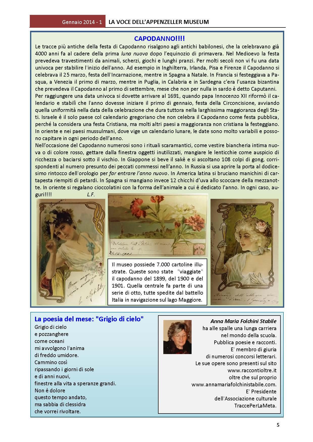 Gennaio 2014, n.1, La Voce dell'Appenzeller Museum – Anna Maria Folchini Stabile, Poeta del mese
