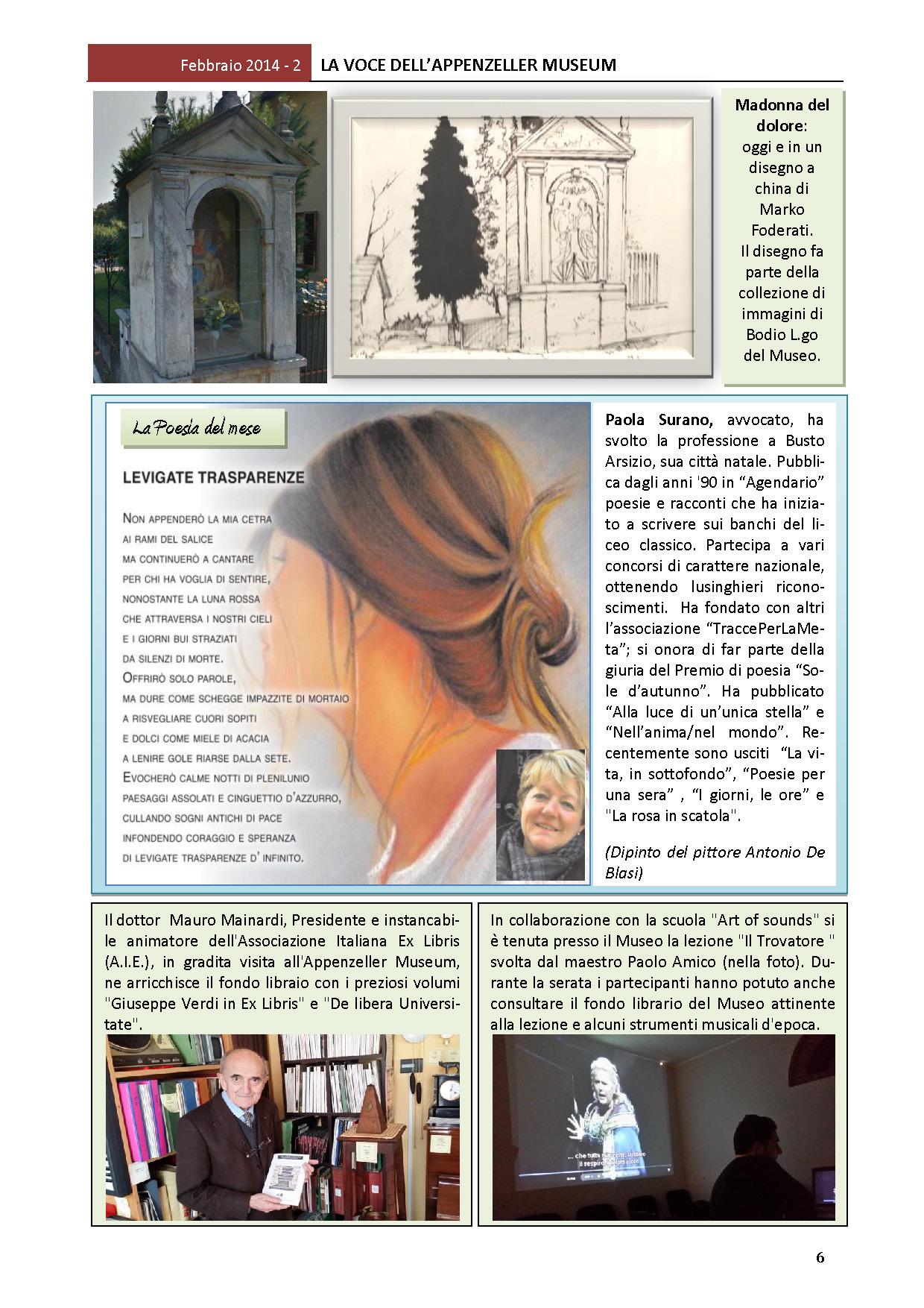 Febbraio 2014, n.2, La Voce dell'Appenzeller Museum – Paola Surano, Poeta del mese
