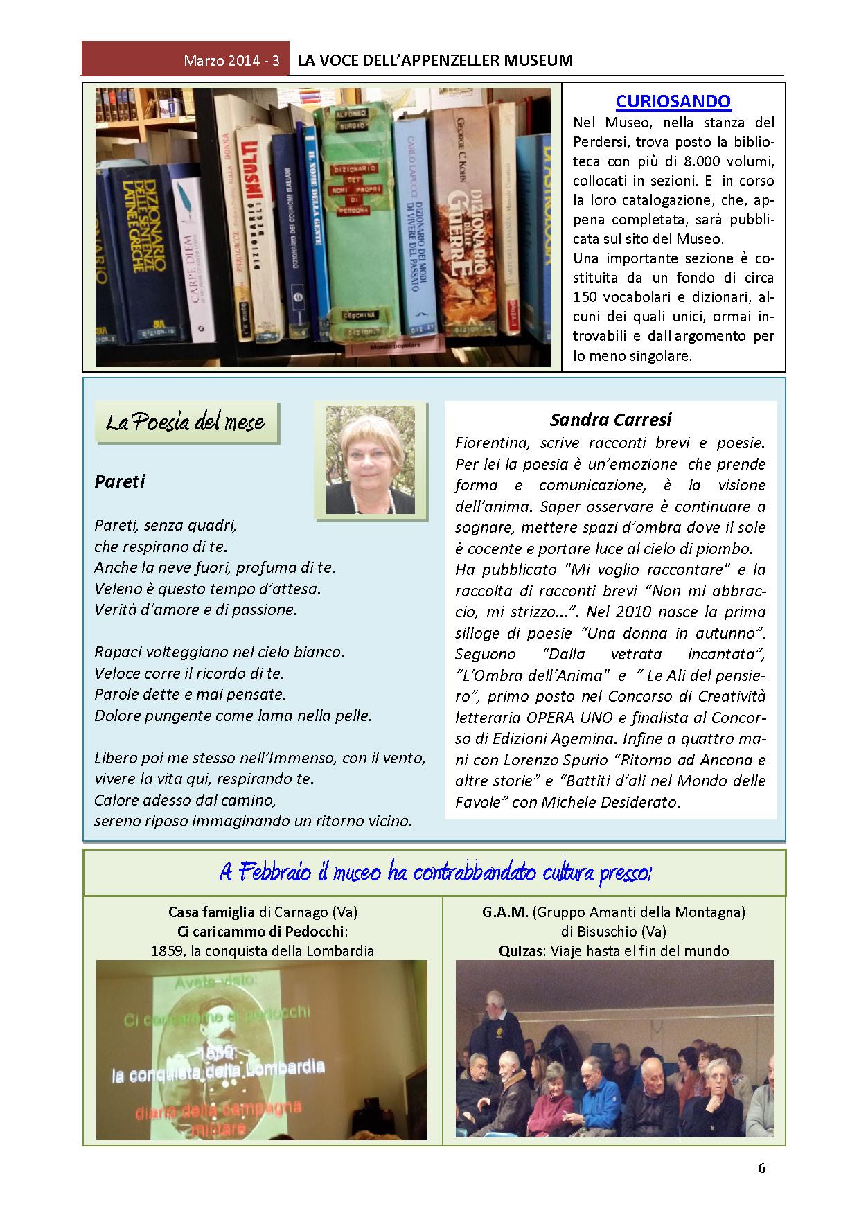 Marzo 2014, n.3, La Voce dell'Appenzeller Museum – Sandra Carresi, Poeta del mese