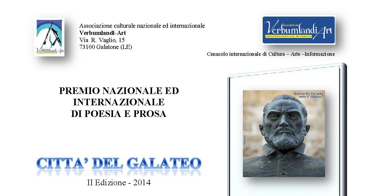 """Scadenza 31.5.2014 – II Premio nazionale e internazionale di poesia e prosa """"Città del Galateo"""" 2014"""