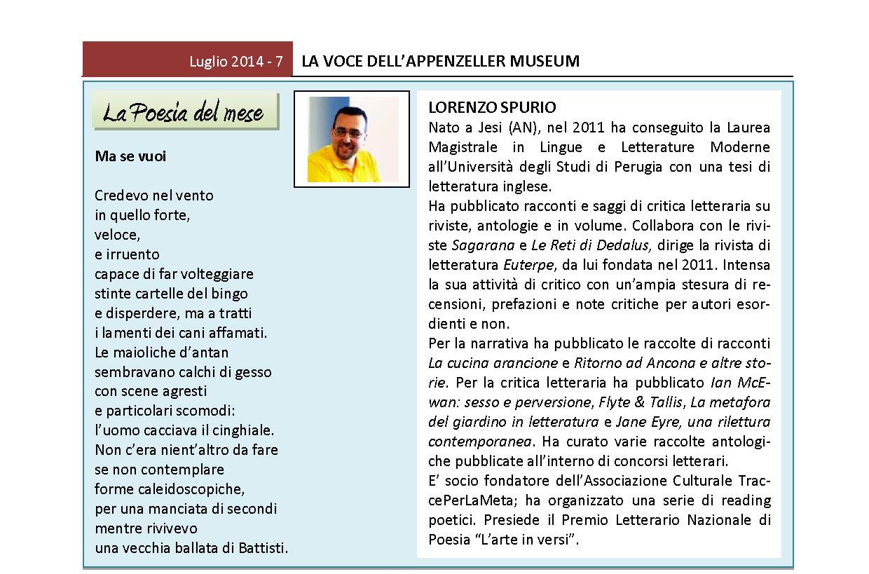 Luglio 2014, n.7, La Voce dell'Appenzeller Museum – Lorenzo Spurio, Poeta del mese