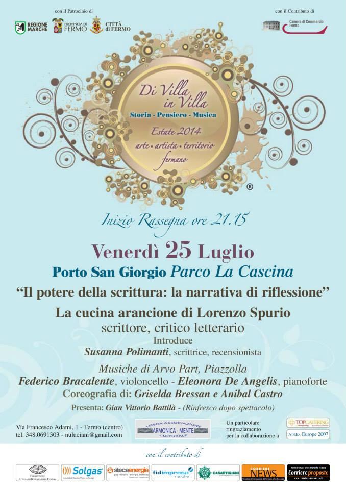 """25.7.2014 – """"La cucina arancione"""" di Lorenzo Spurio alla Kermesse letteraria """"Di Villa in villa"""""""