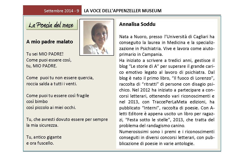 Settembre 2014, n.9, La Voce dell'Appenzeller Museum – Annalisa Soddu, Poeta del mese