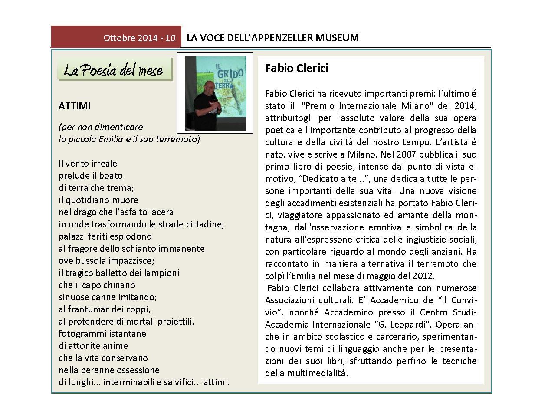 Ottobre 2014, n.10, La Voce dell'Appenzeller Museum – Fabio Clerici, Poeta del mese
