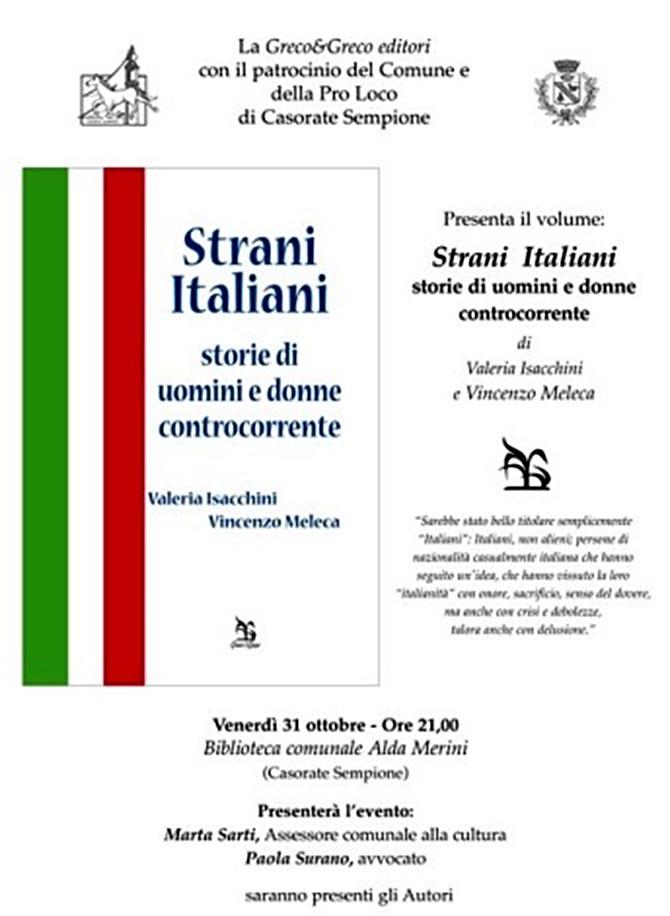 """Presentazione libro – """"Strani Italiani – storie di uomini e donne controcorrente"""" di Valeria Isacchini e Vincenzo Meleca"""