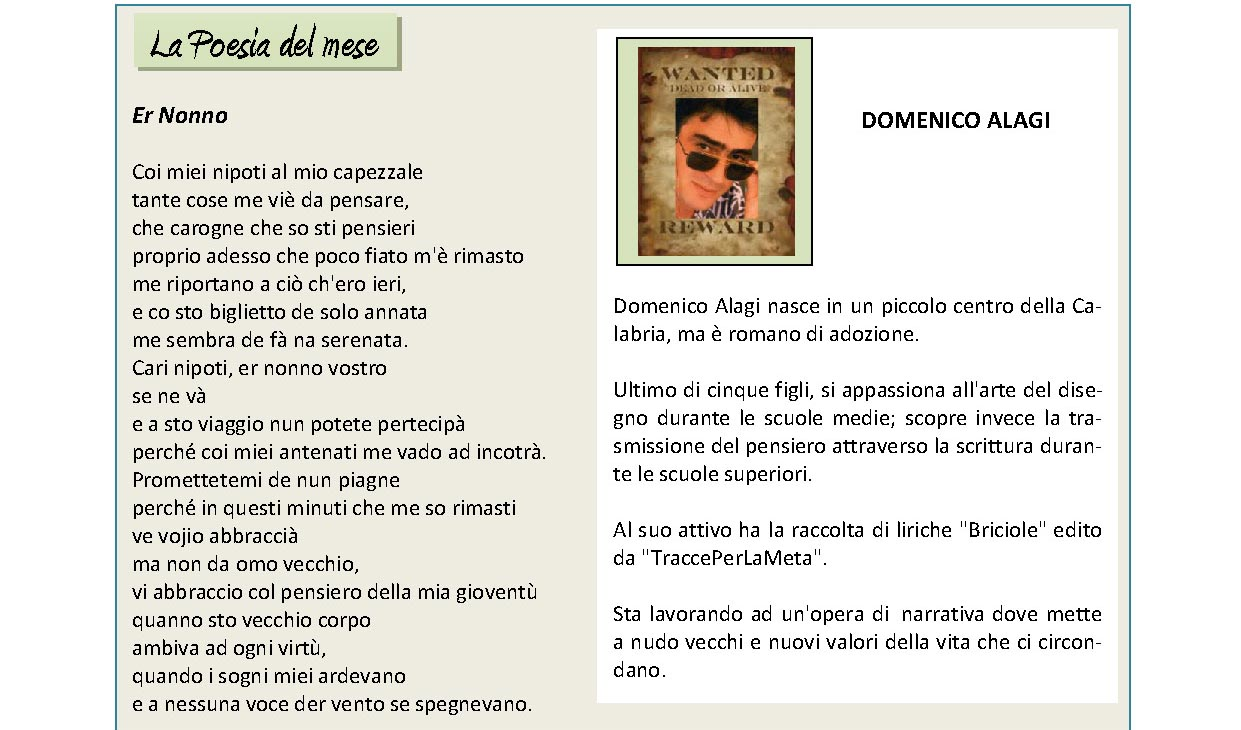 Febbraio 2015, n.2, La Voce dell'Appenzeller Museum – Domenico Alagi, Poeta del mese