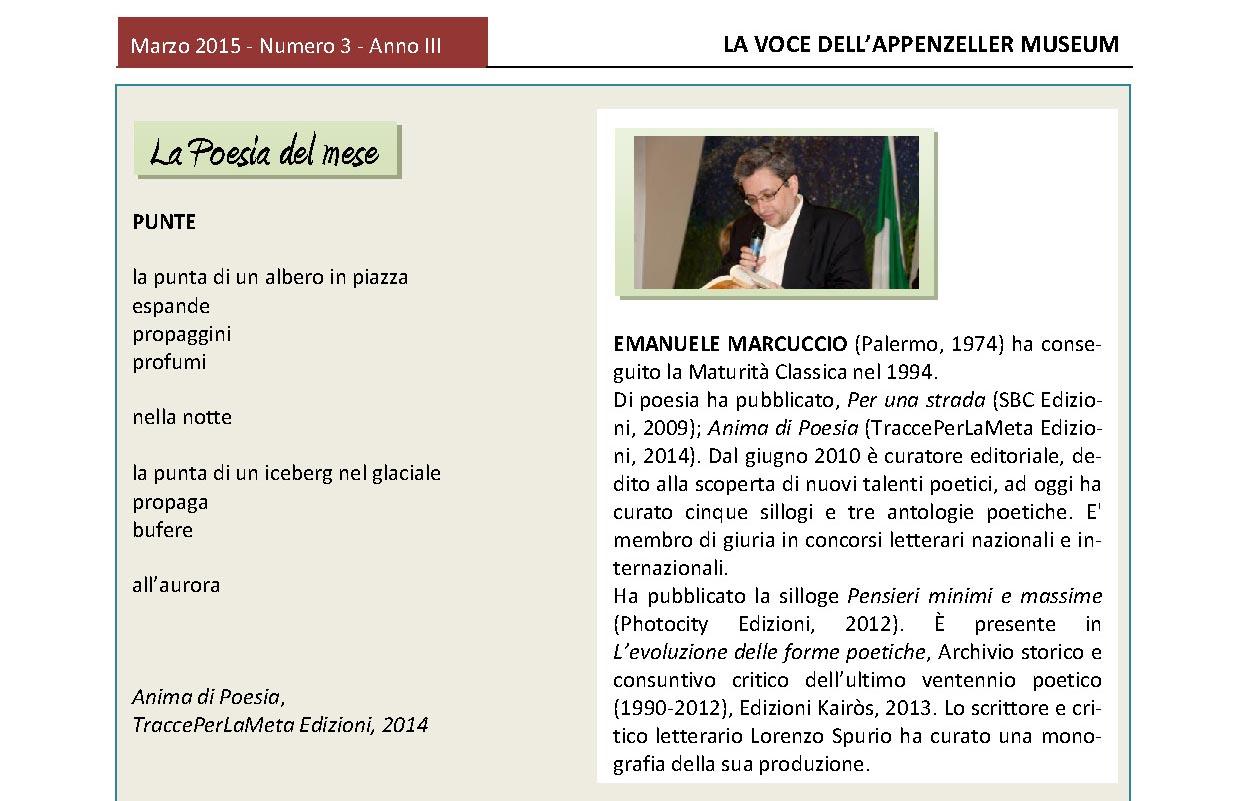 Marzo 2015, n.3, La Voce dell'Appenzeller Museum – Emanuele Marcuccio, Poeta del mese