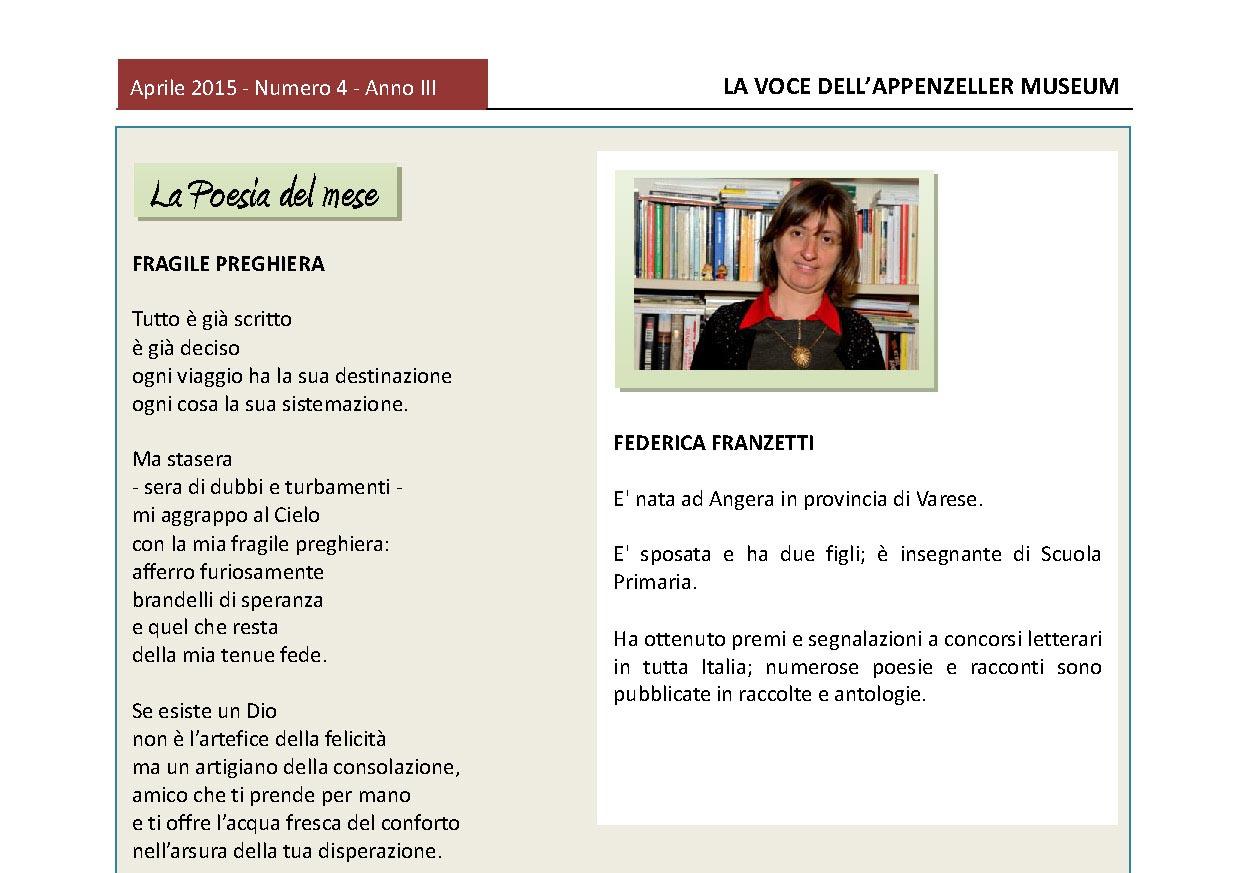 Aprile 2015, n.4, La Voce dell'Appenzeller Museum – Federica Franzetti, Poeta del mese