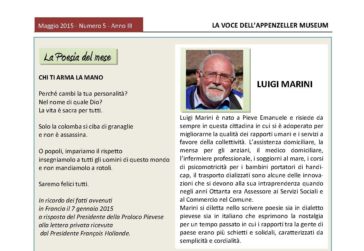 Maggio 2015, n.5, La Voce dell'Appenzeller Museum – Luigi Marini, Poeta del mese
