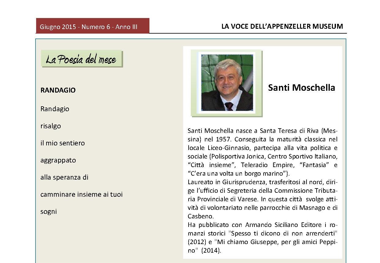 Giugno 2015, n.6, La Voce dell'Appenzeller Museum – Santi Moschella, Poeta del mese