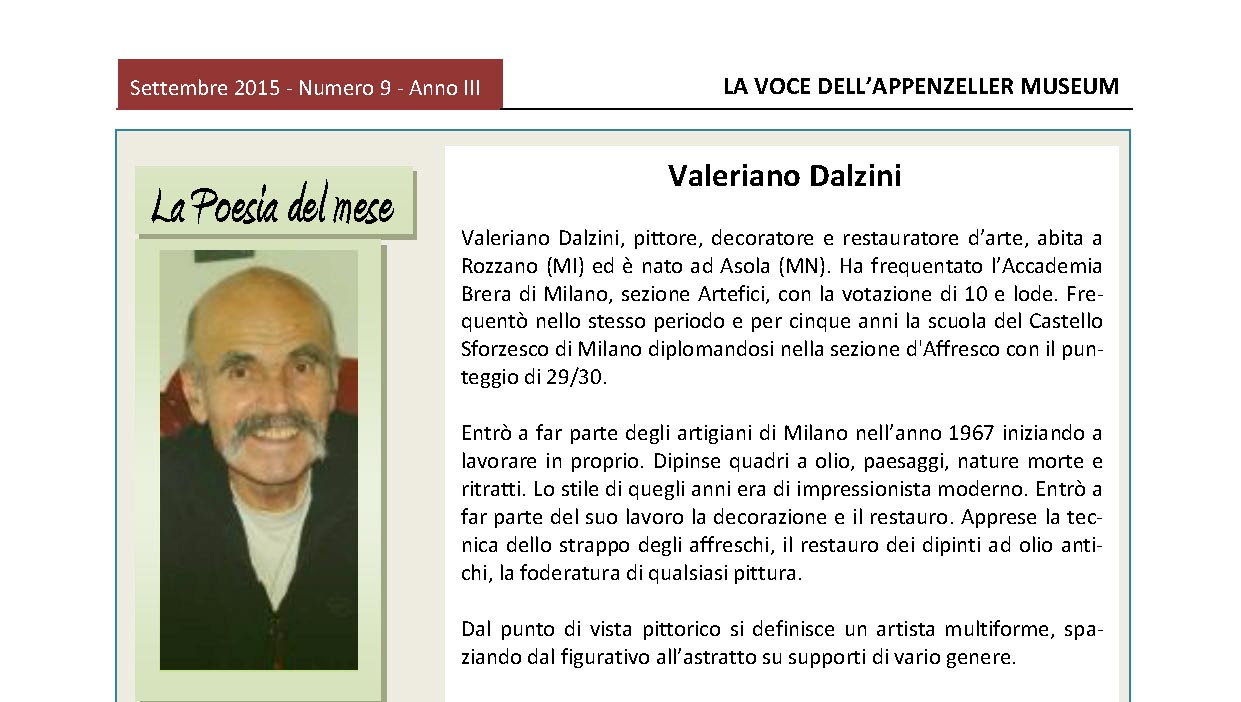 Settembre 2015, n.9, La Voce dell'Appenzeller Museum – Valeriano Dalzini, Il quadro del mese