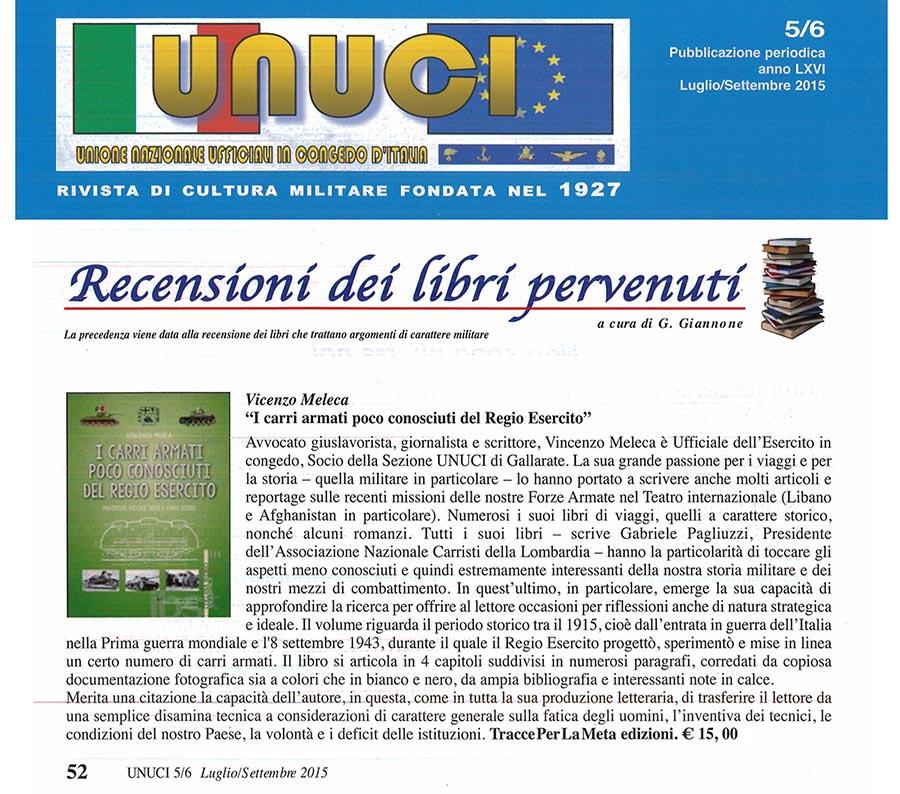 """Recensione su UNUCI luglio/settembre 2015 """"I carri armati poco conosciuti del Regio Esercito"""" di Vincenzo Meleca"""