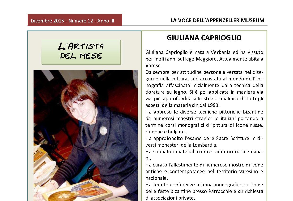 Dicembre 2015, n.12, La Voce dell'Appenzeller Museum – Giuliana Caprioglio L'artista del mese