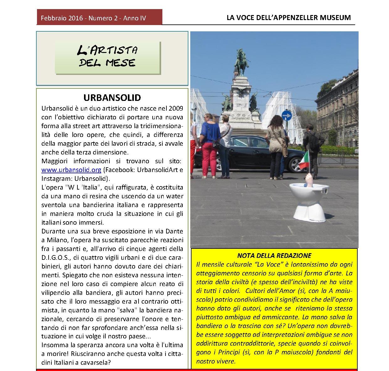 Febbraio 2016, n.2, La Voce dell'Appenzeller Museum – Urbansolid, L'artista del mese