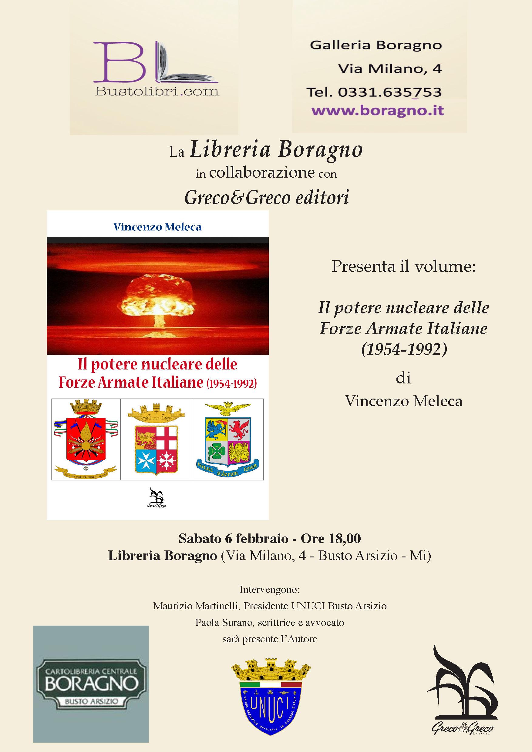 """6.2.2016 – Presentazione del libro """"Il potere nucleare delle Forze Armate Italiane"""" di Vincenzo Meleca"""