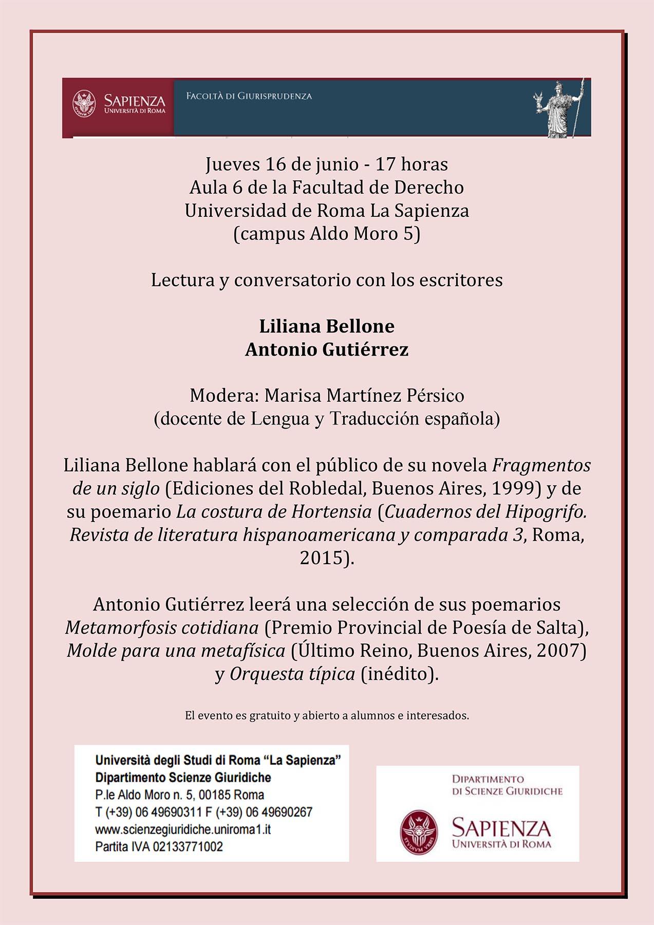 """Jueves 16 de junio – Invitación """"conversatorio"""" con los escritores Liliana Bellone/Antonio Gutiérrez"""