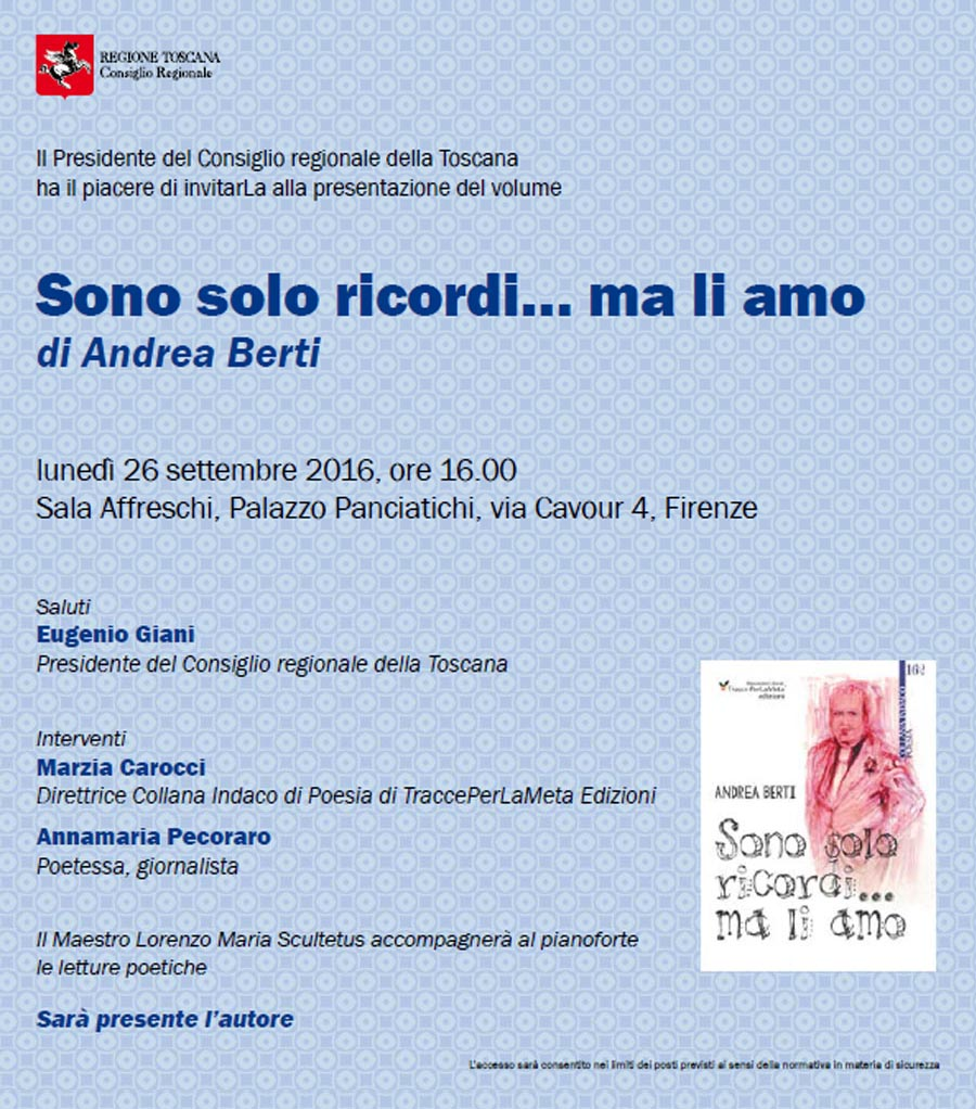 """26.9.2016 – Presentazione libro """"Sono solo ricordi… ma li amo"""" di Andrea Berti"""