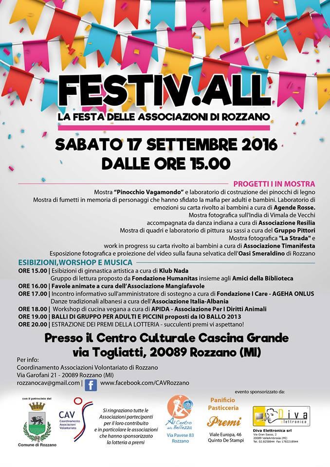 Sabato 17.9.2016 – FESTIV.ALL La festa delle Associazioni di Rozzano