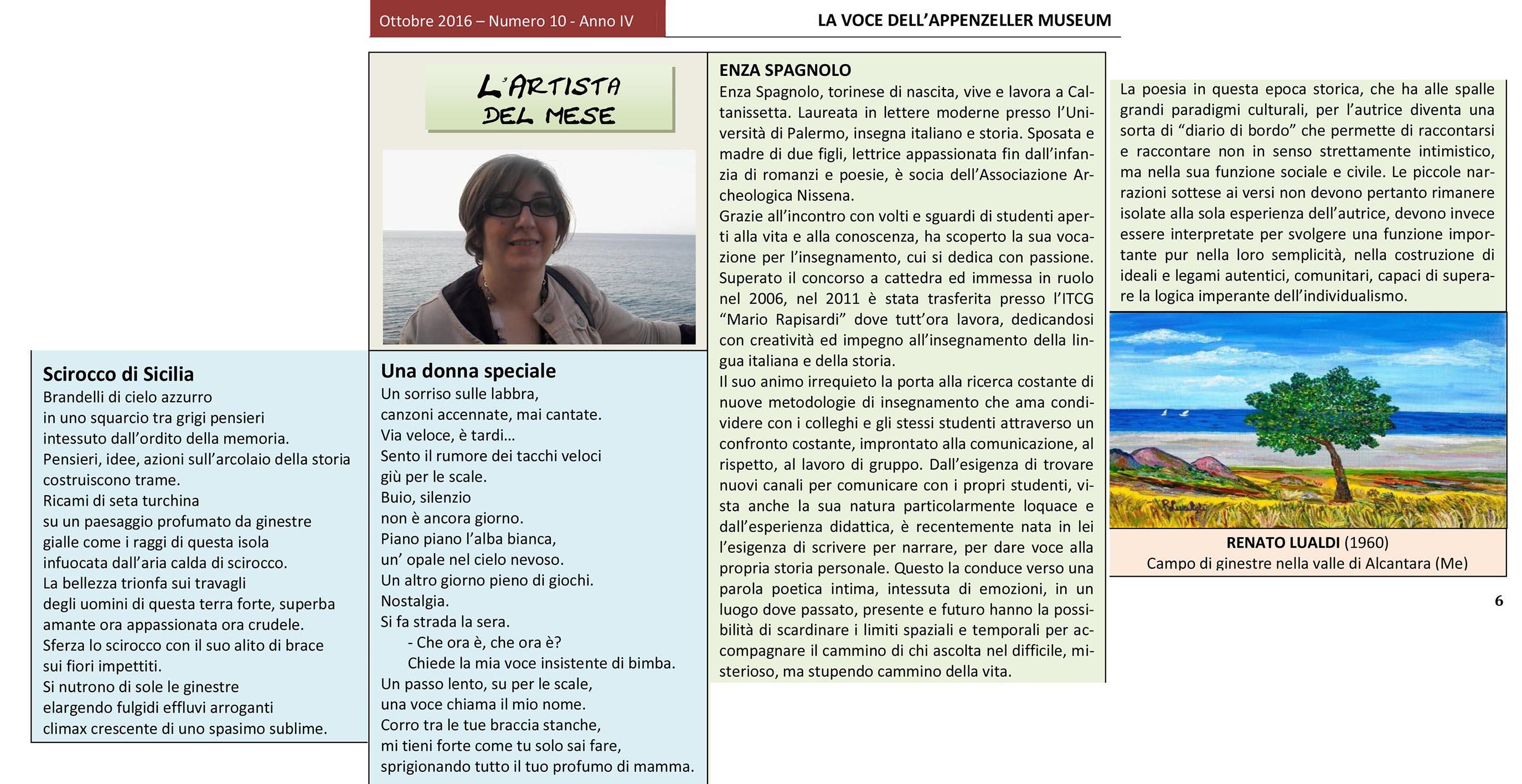 Ottobre 2016, n.10, Edizione Speciale, La Voce dell'Appenzeller Museum – Enza Spagnolo, Artista del mese