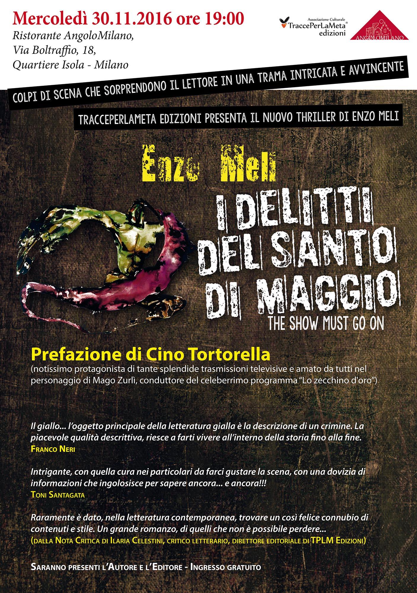 """30.11.2016 – """"I delitti del Santo di Maggio"""" presentazione del thriller di Enzo Meli"""