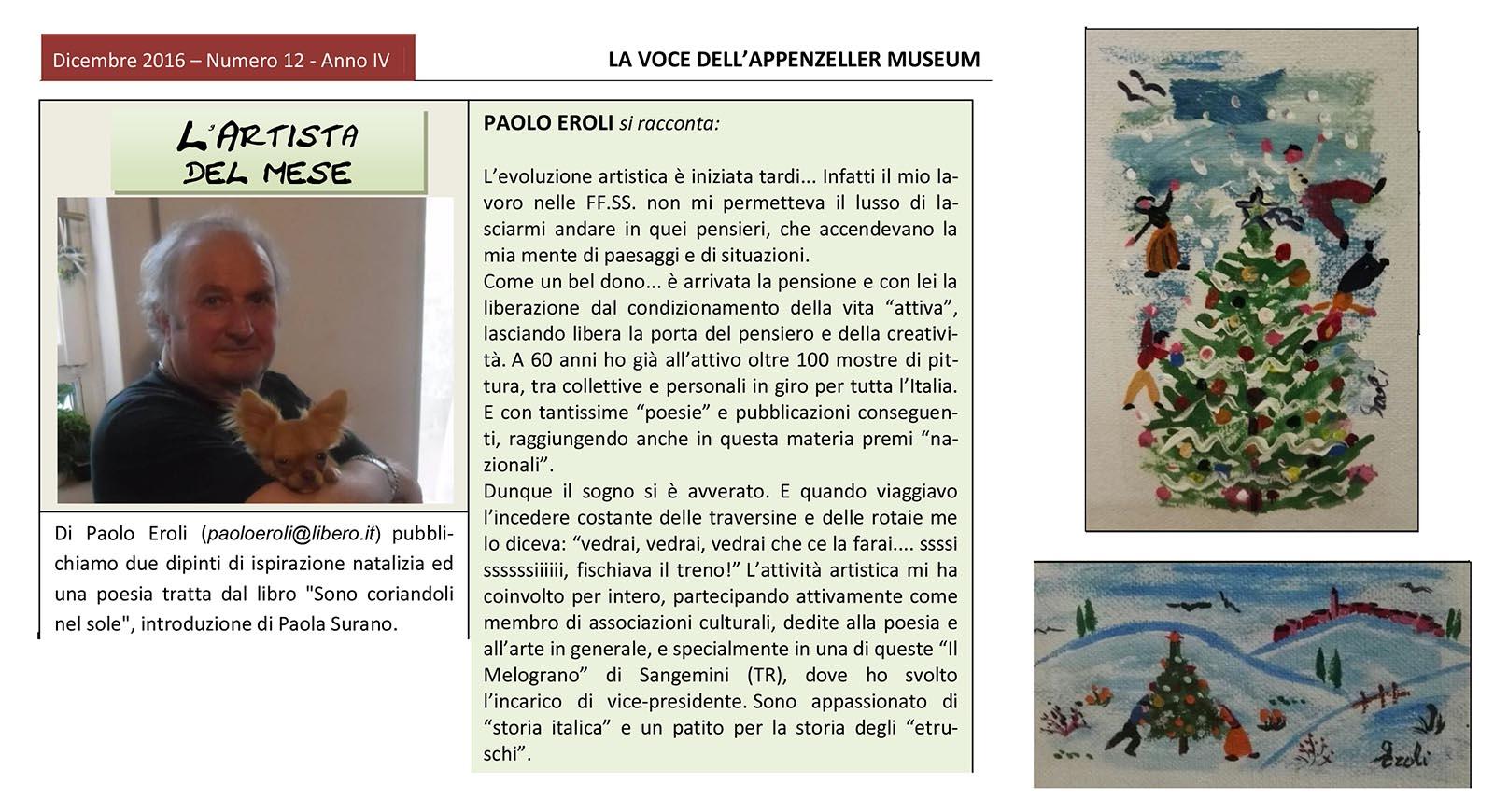 Dicembre 2016, n.12, La Voce dell'Appenzeller Museum – Paolo Eroli, Artista del mese