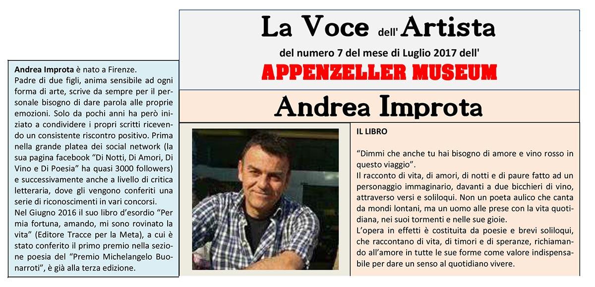 Andrea Improta, La Voce dell'Artista – Luglio 2017, n.07, La Voce dell'Appenzeller Museum