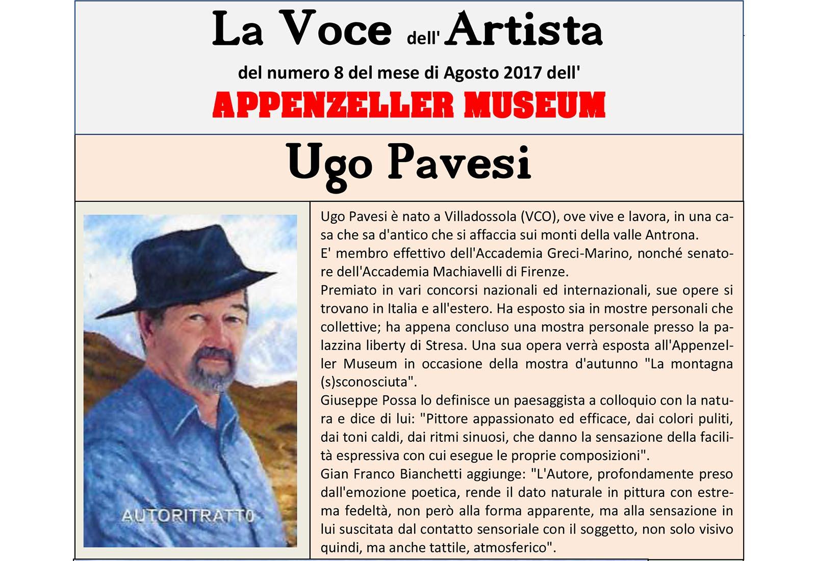 Ugo Pavesi, La Voce dell'Artista – Agosto 2017, n.08, La Voce dell'Appenzeller Museum